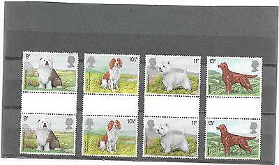 """Stamps: G.b. 1979 """"dogs"""" Gutter Pairs Set Of 4 (U/mint)"""