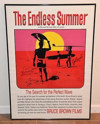 """SIGNED by WINGNUT & ROBERT AUGUST The Endless Summer Poster 28x40"""" Bruce Brown"""