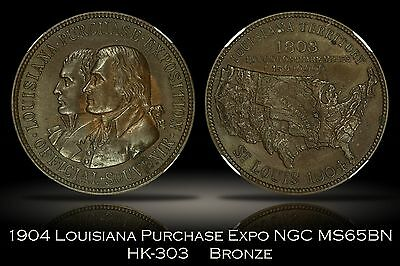 1904 Louisiana Purchase Expo Official Medal Bronze HK-303 NGC MS65BN Gem LAPE