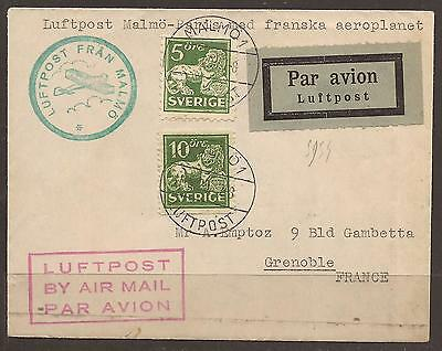 Sweden / France. 1929. Air Mail Cover By Aeroplanet. Malmo To Grenoble
