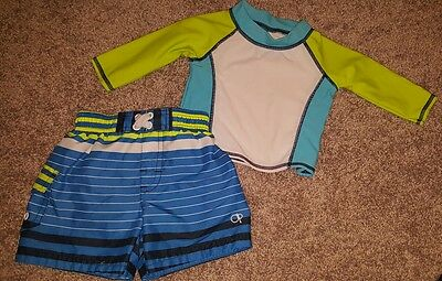 OP Ocean Pacific Swim Shorts Trunks & Long Sleeve Rash Guard Baby Boy Sz 6-12 Mo