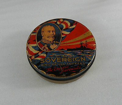 WW1 sovereign Toffees tin The Empires Favourite Dreadnoughts George V 12.5 cm