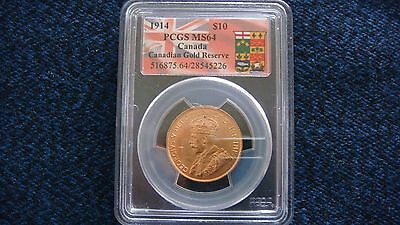1914 Canada Gold $10  Dollars   Canadian Gold Reserve  Pcgs Ms 64