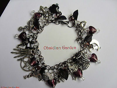 Hand made original OOAK Gothic purple heart charm bracelet - FREE P&P