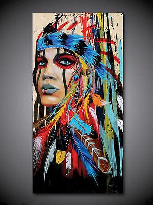 Native Woman, Forester, Hand Painted Oil Painting on Canvas (24x48in, No frame)
