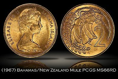 1967 New Zealand Bahamas Mule Error PCGS MS66RD Finest Known Top Pop Red 2c 5c