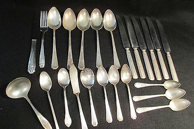24 piece assorted mixed lot vintage silverplate silverware
