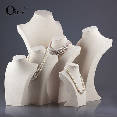 Oirlv Necklace Display Busts for Jewelry Shop Window Tall Beige Linen Mannequin