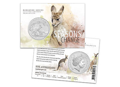 2017 UNC $1 SEASONS CHANGE KANGAROO 1oz SILVER PROOF FROSTED COIN ON CARD