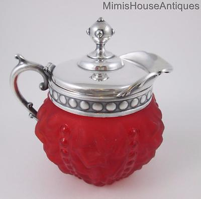 """Antique """"BEADED DRAPE"""" - SYRUP JUG pitcher - Pigeon Blood RED Satin Glass c.1890"""