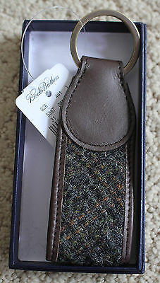 Brooks Brothers Plaid Wool and Leather Key Fob Key Chain NEW