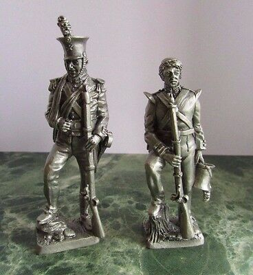 2 Pewter FRANKLIN MINT MILITARY Figures - 1800's Marines   (N)