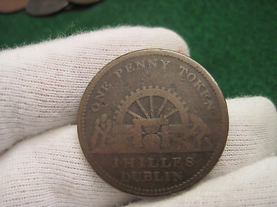 1813 One Penny Bank Of Ireland Shamrocks Colonial Coin