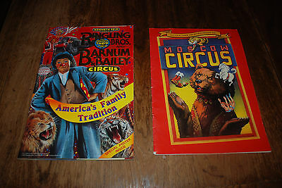 2 Circus Program Book Lot Ringling Bros 121st 1992 w/poster & Moscow Circus 1990