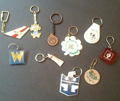 Lot Of 10 Key Chains Colgate Cn Tower Bc Lions Wardair Rotary Montreal Reno