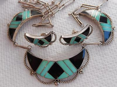 ZUNI NA Sterling Turquoise Onyx INLAID NECKLACE EARRINGS Set RANDOLPH LATEYICE