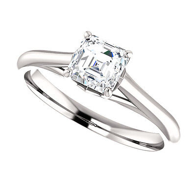 3/4ct D VVS1 Asscher Cut 10K White Gold Solitaire Engagement Ring