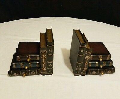 Fancy Book Bookends w/ 3 Hidden Secret Drawers Stack of Books Matching Pair