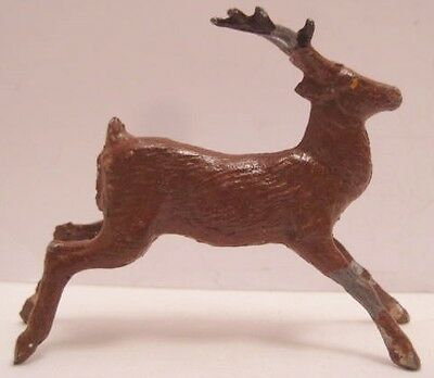Old French Lead Running Reindeer for Christmas Putz Village or Sleigh or Hunt