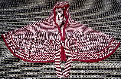 Seed Girls Hooded Cotton Poncho Cape Sz  2 - 3