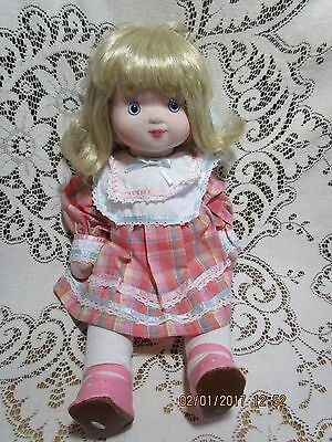 """Gorham Sweet Inspirations 18"""" Blonde Hair Cloth Doll Vintage 1985 Button Joints"""