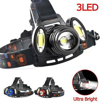 22000 LM T6 +COB 3 LED Zoom Headlamp Waterproof 18650 Camping Flashlight Lamp TS