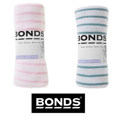 Bonds Baby Girls Boys Newbies Knit Wrap Blanket Pink Stripe Green Stripe Bycpa