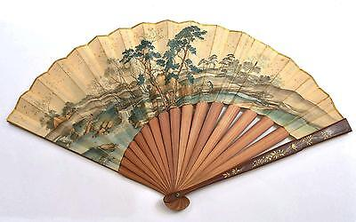 Late 19C Japanese Makie Lacquer Bamboo Chinese Painting Fan