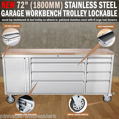 "NEW 72"" 1800mm Stainless Steel Garage Work Bench Tool Trolley Lockable Wheels"