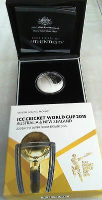 2015 $5 Icc Cricket World Cup Aus & Nz Silver Proof Domed Coin