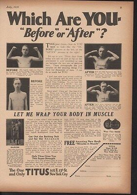 1928 Titus Workout Man Strong Muscle Weight Lifting Ad 13978