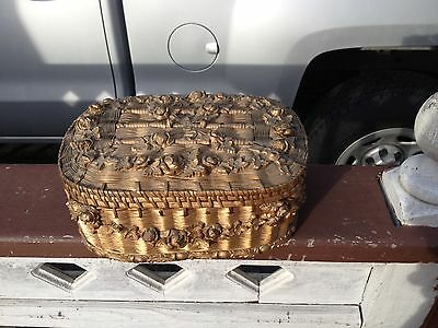RARE Vintage Barbola Sewing Basket Tufted Silk Lining Gorgeous Antique Old