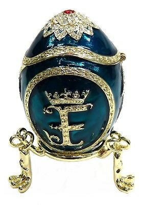 """Decorative Egg Trinket Box Hand Paint Faberge Egg """"F"""" text with Crystals, Blue"""