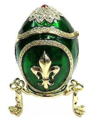Green Decorative LIS Egg Trinket Box Hand Painted Faberge Egg Box with Crystals
