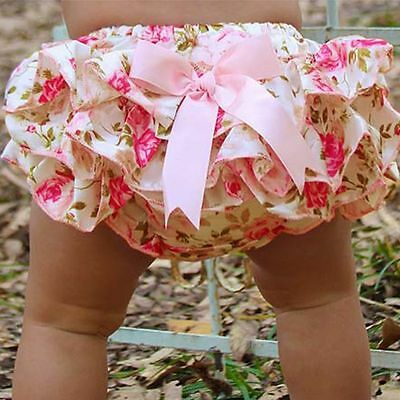 Newborn Baby Girls Ruffle Bloomers Layers PP Pants Diaper Cover Shorts Skirts