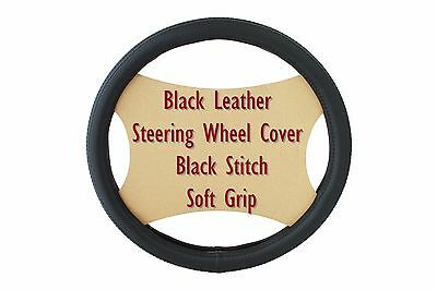 Car Black Leather Black Stitch Soft Grip Steering Wheel Cover Glove 38cm Size M