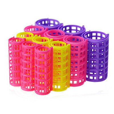 Woman Home DIY Hair Styling Pink Plastic Roller Curlers Clips 12Pcs