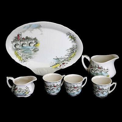 Vintage Alfred Meakin English Bridges platter, jugs and cups set