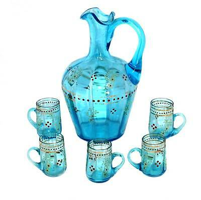 Vintage Edwardian enamelled blue glass jug and tiny glasses