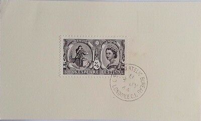 Great Britain 1964 Philatelic Bureau Compliments Card With 2/6 Shakespeare Stamp