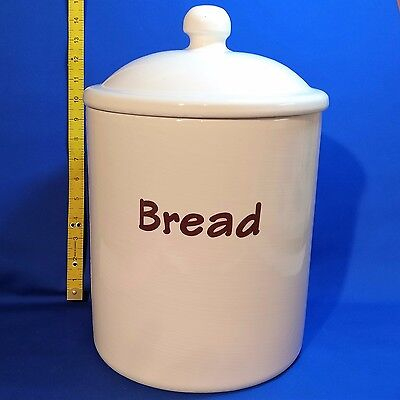 "Vintage RAYWARE Kitchenalia - LARGE CERAMIC BREAD CROCK with LID  (14"" tall)"