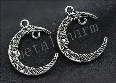 New 10pcs Tibetan Silver Exquisite two-sided Moon Charms pendant DIY 26x21mm