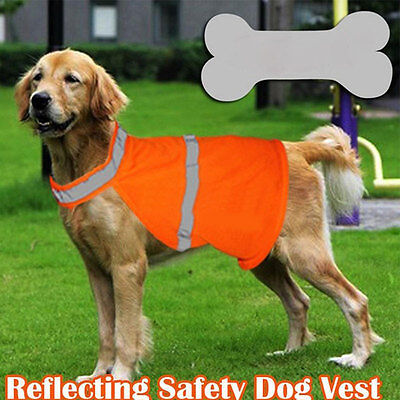 Orange Pet Dog Visibility Reflective Night Safety Vest Clothes Coat Apparel UK