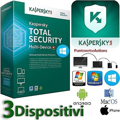 Kaspersky Total Security Multidevice 2017  1 ANNO X3 Dispositivi PC/MAC/Android