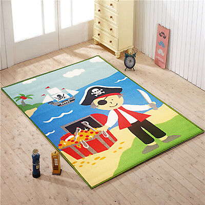 Pirate Treasure Kids Bedroom Floor Rug Boys Play Mats Carpets Anti-Slip Washable