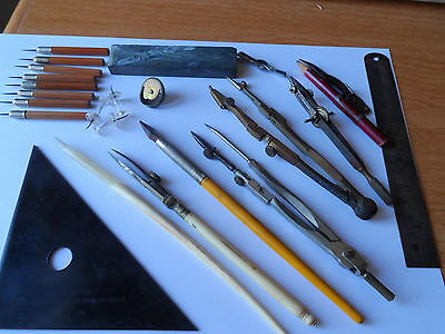Collection Of Vintage &  Antique Draughtsmans Drawing Technical Instruments