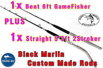 2x 24kg Standup Game Fishing Rods 1x6ft BENT 1x5'3ft STRAIGHT trolling lures etc