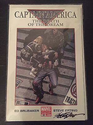 Captain America The Death Of A Dream 25. Steve Epting Variant & Signed