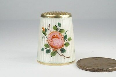 VINTAGE NORWEGIAN SILVER GILT & ENAMEL SEWING THIMBLE by DAVID ANDERSON