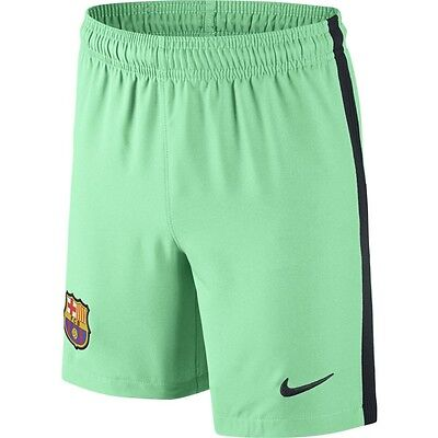 Nike 2016/2017 Barcelona FC Junior Boys Kids 3RD Football Kit Shorts Green Glow